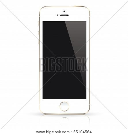 Modern white mobile phone isolated. Vector illustration.