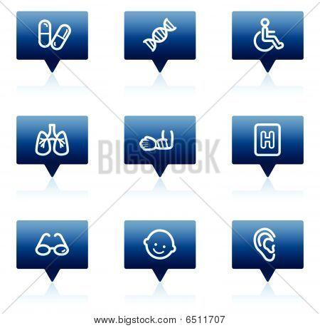 Medicine web icons set 2, blue speech bubbles series