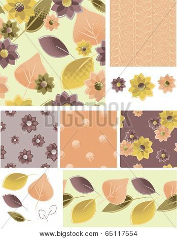 Autumn Floral Vector Seamless Patterns and Elements. Use as fills, digital paper, or print off onto fabric to create unique items.
