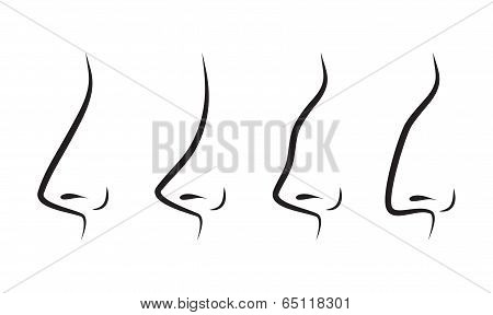 Vector Silhouettes Of Noses
