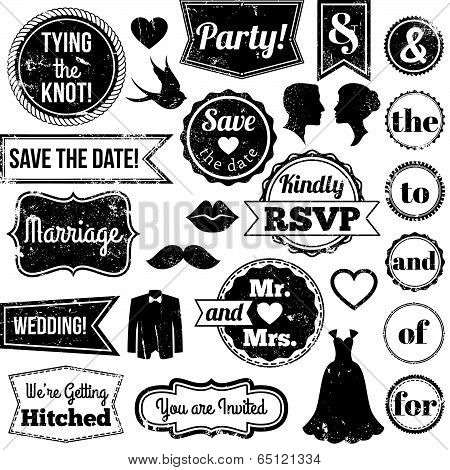Vector Collection of Vintage Wedding Themed Badges and Stamps