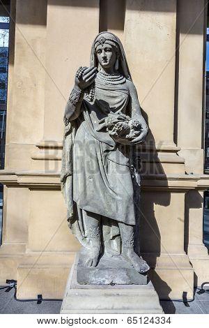 Statue At Frankfurt Stock Exchange That Symbolizes Asia