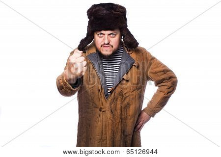 Angry russian man threaten with a fist