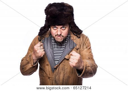 Angry russian man ready for a fight