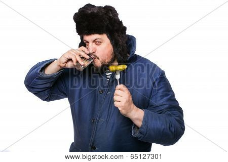 Angry russian man drink vodka