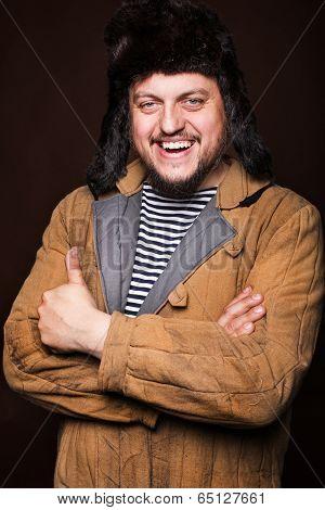 Happy russian man smiling, ok