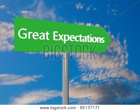 "Green cartel with text ""Great Expectations"" 3d render poster"