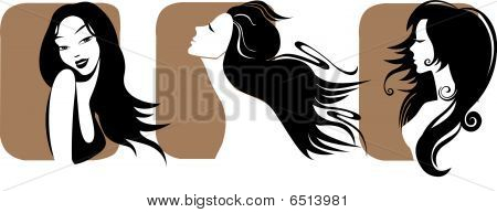 Vector Set Of Closeup  Portrait Women With Long Hair