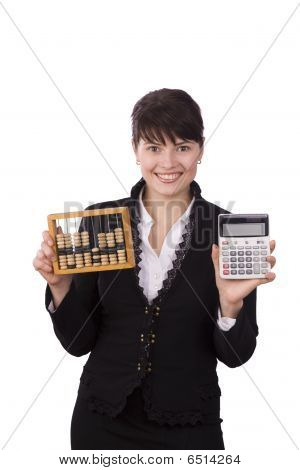 Business Woman Choice Between Wooden Abacus And Calculator