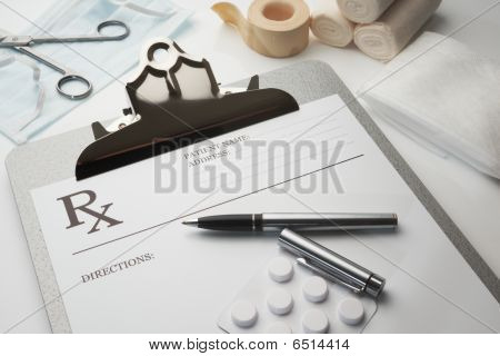 Online Rx Prescription Concept Pills
