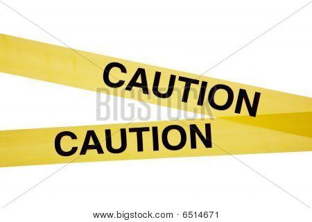 Yellow Caution Tape On White