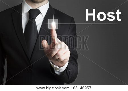 businessman pressing virtual button host internet symbol poster