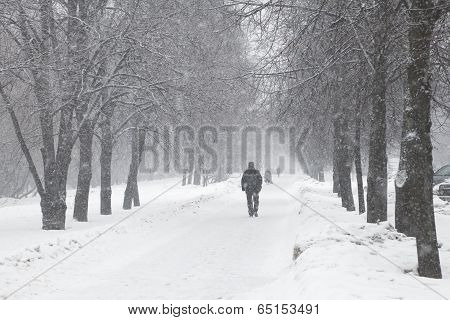 Alley in a town during a snow storm poster