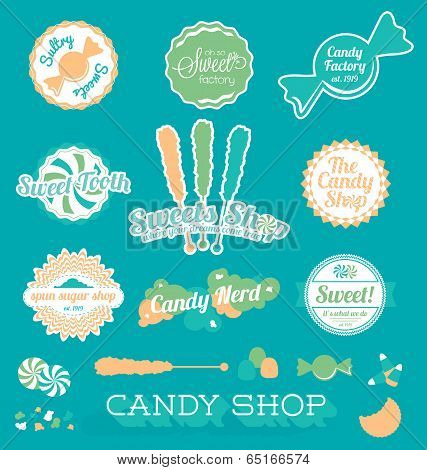 Vector Set: Candy Shop Icons and Labels