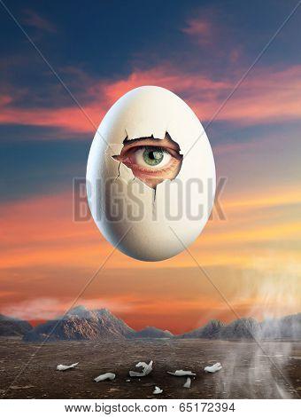 Broken egg  with eye inside