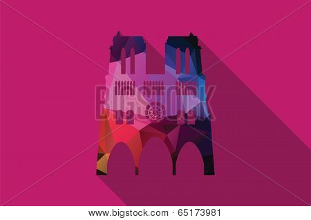 World landmark, The Notre-dame, Paris, France, Europe, vector illustration poster
