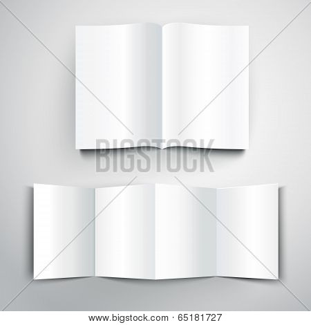Vector Illustration Of Blank White Folded Flyer