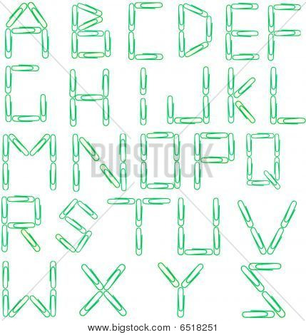 Green Paperclip Alphabet