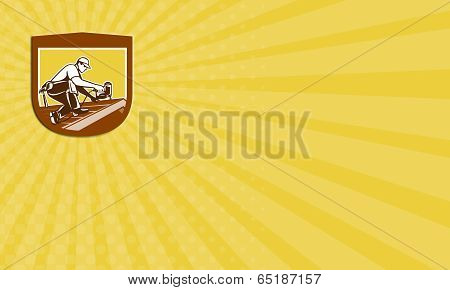 Business Card Roofer Roofing Worker Crest Shield Retro