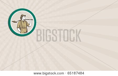 Business Card Prospector Miner With Shovel Circle Retro