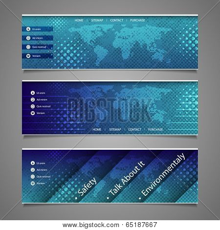 Web Design Elements - Abstract Header Design with Dotted Earth Map