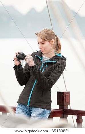 Girl On Deck Of Ship At Halong Bay, Vietnam, Asia.
