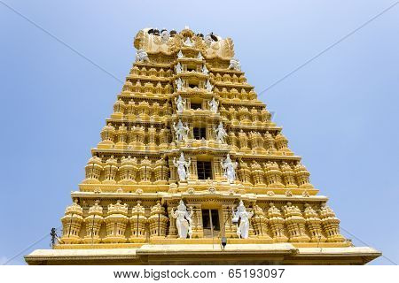 A majestic monumental tower or gopura of a Hindu temple