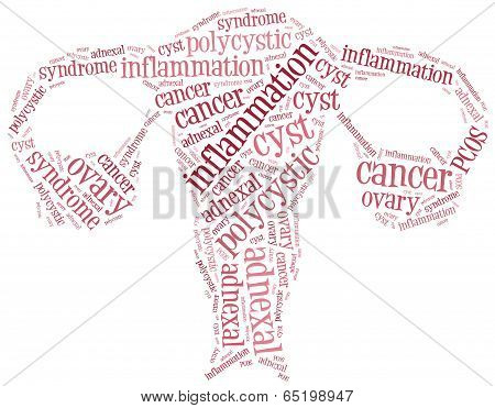 Word Cloud Illustration Ovarian Diseases Related