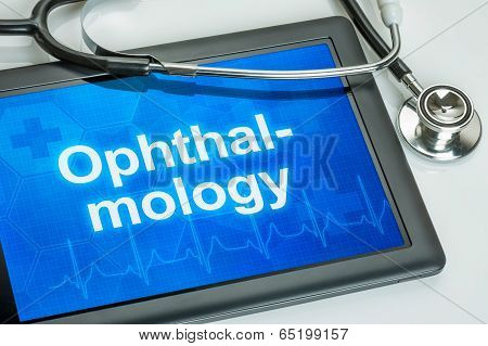 Tablet with the medical specialty Ophthalmology on the display