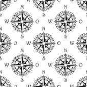 Seamless pattern of a vintage magnetic navigational compass marked with north south, east and west, black and white illustration poster