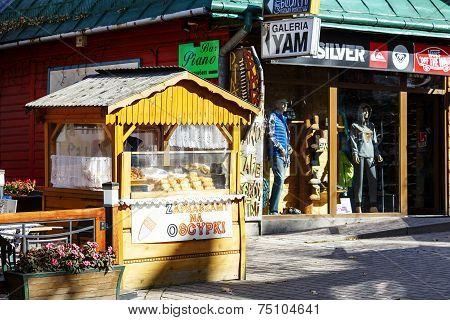 Selling Cheese At Krupowki In Zakopane
