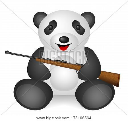 Panda rifle on a white background. Vector illustration. poster