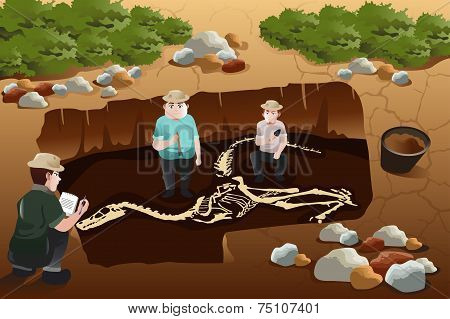 Men Discovering A Dinosaurs Fossil