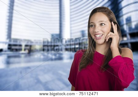 girl talks by mobile phone