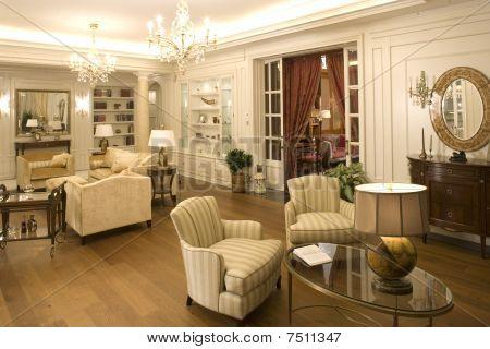 interior of a big wide living room