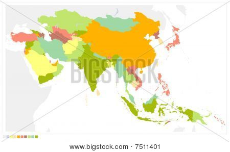 Asia Map Detailed Vector