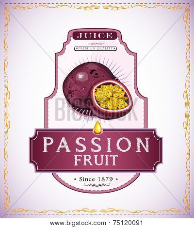 Passion fruit product label