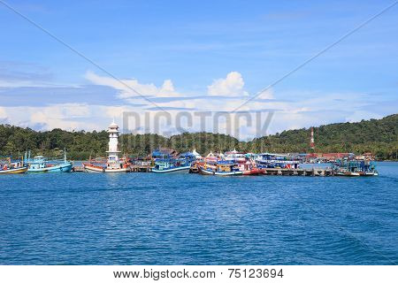 Bang Bao Port important pier to destination going hub in Koh Chang Island trat province eastern of Thailand poster