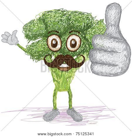 Broccoli Vegetable Mustache