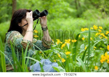 Observación de aves de mujer