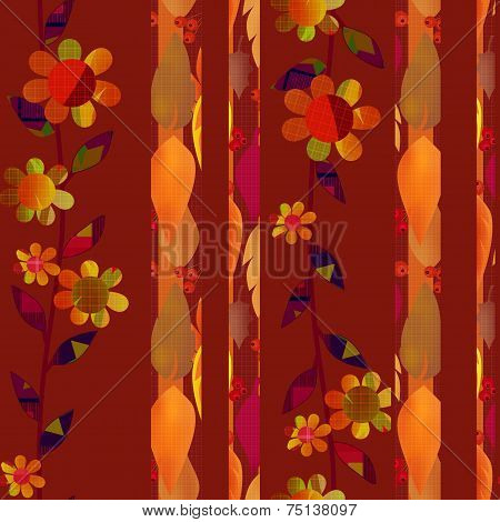 Patchwork autumn red brown floral pattern background poster