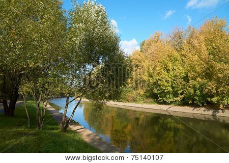 Yauza River In Fall