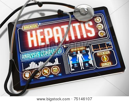 Hepatitis on the Display of Medical Tablet.