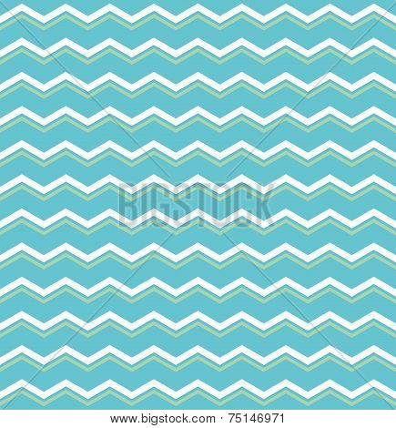 Tile vector pattern with green and white zig zag print on blue background for seamless decoration wallpaper poster