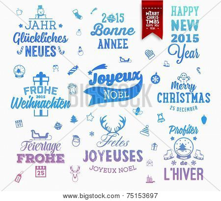 Christmas Decoration Set of Calligraphic and Typographic Design. Labels, Symbols and Icons Elements for Xmas Cards and Posters. Red Xmas Ribbon. Holiday Greetings in Various Languages