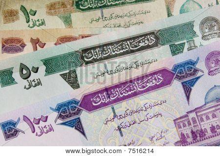 Afghanistan banknote background arabic
