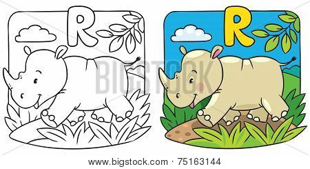 Little rhino coloring book. Alphabet R