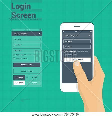 Mobile phone login / register screen user interface on 10 px grid system + hand holding mobile phone logging to website or app sample - flat design illustration.
