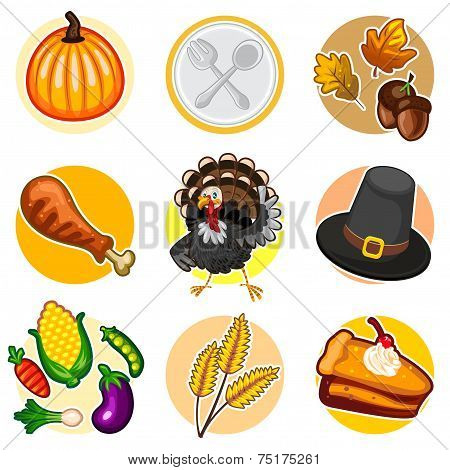 Happy Thanksgiving Sticker Icon Set