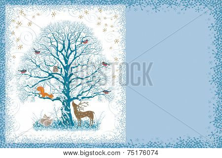 Christmas card with snow covered tree and different animals near and on it